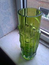 Aseda. Bark / Bamboo Vase. Green. Bo Borgstrom. Swedish. '60's / '70's Glass