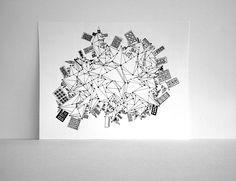 City on the Edge of a Triangle World print from the Sometimesiswirl Etsy shop