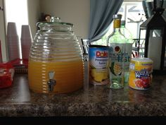 New Party with Alcohol Punch: 1 Dole pineapple juice can, Bacardi pineapple coconut fusion rum (whole bottle), Kool-aid Peach Mango (1 full cap), 2 liter of Diet Sierra Mist. Ridiculously delicious! Enjoy!!!