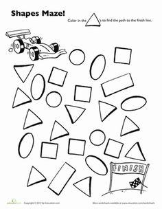 Preschool Mazes Shapes Worksheets: Race Car Shape Maze