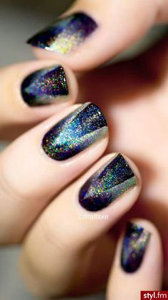 Holographic glitter over black