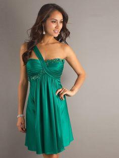 Hunter Satin One-Shoulder Floral Sweetheart Neckline Sleeveless Short Party Dress