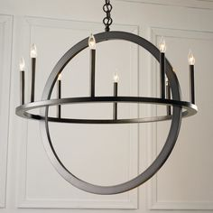 Check out Double Circle Chandelier - from Shades of Light A modern take on a classic shape, this 8 light chandelier upgrades the traditional candle chandelier with a perpendicular Includes of chain and watt candle base sockets. Circle Chandelier, Silver Chandelier, Chandelier Shades, Chandelier Pendant Lights, Chandeliers, Foyer Lighting, Interior Lighting, Circle Stairs, Circle Light