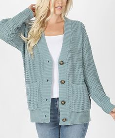 Blue Gray Waffle-Knit Button-Up Pocket Cardigan - Women & Plus | Zulily