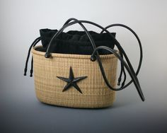 Tote Nantucket Basket by William Kane with black straps and liner & ebony starfish