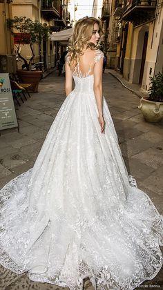 louise sposa 2018 bridal cap sleeves illusion bateau sweetheart neckline full embellishment romantic a line wedding dress medium train (8) bv -- Louise Sposa 2018 Wedding Dresses