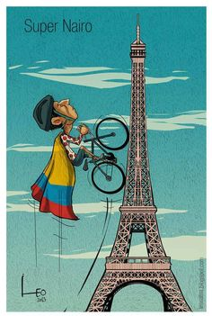 "Nairo Quintana, ciclista colombiano ""Naironman"" Vintage Cartoons, Vintage Posters, Cycling Art, Road Cycling, Colombian Culture, The Great Race, Bike Illustration, Cycling Motivation, Bicycle Art"