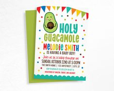 Holy Guacamole Invitation, Taco baby Shower invite, Fiesta Party, Taco bout a baby boy, printable invitation, avocado invitation