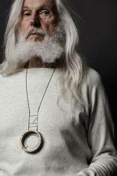 Necklace, concrete, sterling silver and 24k gold leaf. 2014 Jewel: Catrie Photo: Elizabeth Delage & James Rosen Model: Armand Vaillancourt Mua: Janick Sabourin Poirier