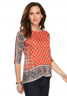 Lucky Brand Twin Print Blouse