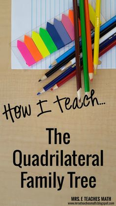 How I Teach the Quadrilateral Family Tree Teaching Geometry, Teaching Math, Geometry Activities, Math Activities, Maths, Math Games, Teaching Ideas, Geometry Lessons, Basic Geometry