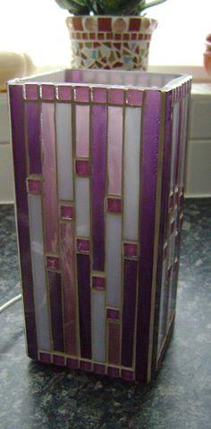 """Mosaic lamp """"four shades of purple"""" Eigen ontwerp. Handgemaakt"""