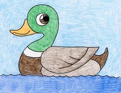 Draw a Duck (Art Projects for Kids) Bird Drawing For Kids, Basic Drawing For Kids, Duck Drawing, Drawing Lessons For Kids, Easy Drawings For Kids, Painting For Kids, Art For Kids, Drawing Drawing, Drawing People