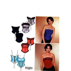 Bustier Top Pattern - Bing Images Bustiers, Strapless Tops, Strapless Dress, Corset Sewing Pattern, Corset Style Tops, Bustier Top, Sewing Diy, Simplicity Sewing Patterns, Patterns
