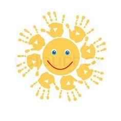 Joyful Sonne Handabdrücke - New Deko Sites Daycare Crafts, Baby Crafts, Preschool Crafts, Fun Crafts, Preschool Art Projects, Spring Crafts For Kids, Summer Crafts, Diy For Kids, Footprint Crafts