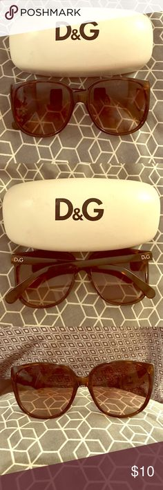 Dolce & Gabbana Tortoise Oversized Sunglasses Gently loved authentic Dolce & Gabbana oversized sunglasses in brown tortoise shell. Purchased years ago from Sunglass Hut. Used but no damage or obvious scratches - just light wear & tear. VERY LARGE (yet adorable) oversized style frame - see pics! Don't recall the model name. Best way to describe the shape would be oversized rounded square with slight cateye vibe? Authentic microsuede lined case included! Dolce & Gabbana Accessories Sunglasses