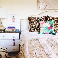 Bright boho bedroom, moroccan wedding blanket, animal print pillows, mixed prints