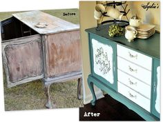 """Sophia's: Kitchen Scale Milk Paint SideboardThis sideboard started out super glossy and since I didn't want all of the milk paint to flake off, but still wanted some chippy areas, I sanded it down so the paint could """"grip"""" the surface and wouldn't resist the finish as much.  After cleaning it inside and out, I then mixed up my milk paint..."""