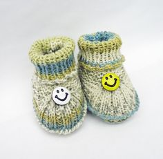 Handknitted Cute Baby Booties Blue Yellow White  by evefashion, £8.50