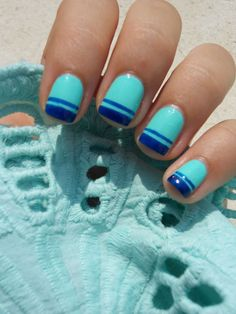 blue double french manicure
