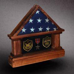 Walnut Flag Case with Bronze Star