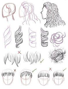 art tips \ art tips _ art tips drawing _ art tips and tricks _ art tips anatomy _ art tips for beginners _ art tips hair _ art tips eyes _ art tips face Pencil Art Drawings, Art Drawings Sketches, Drawing Faces, Hair Drawings, Curly Hair Drawing, Illustration Sketches, Hair Styles Drawing, Tumblr Art Drawings, Tumblr Sketches