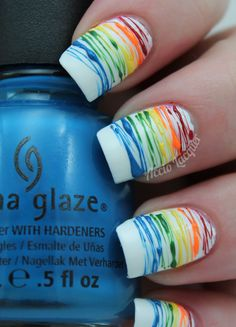 China Glaze Hanging in the Balance Nail Art Stripes, Striped Nails, Rainbow Nail Art, China Glaze, Bobs, Finger, Projects To Try, Recipes, Enamels