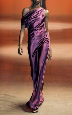 Cushnie One-shoulder Draped Silk-satin Gown - Plum , Satin Gown, Silk Gown, Satin Dresses, Silk Satin, Ny Dress, Cutout Dress, Crepe Dress, Evening Dresses, Afternoon Dresses