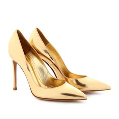 mytheresa.com - Gianvito Rossi - METALLIC LEATHER POINTY-TOE PUMPS - Luxury Fashion for Women / Designer clothing, shoes, bags