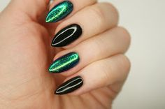 Magdalen Make'up: Manicure hybrydowy Semilac #10 - 'Black Diamond 031 + szmaragdowy efekt syrenki' Manicure, Nails, Gemstone Rings, Gemstones, Beauty, Jewelry, Fashion, Pure Nail Bar, Finger Nails
