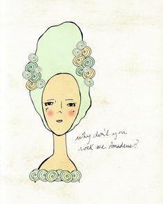 Rock Me Amadeus // Illustration, Girl Portrait, Digital, Giclee, Musical, Mozart, Art Poster Print, French Revolution, Marie Antoinette