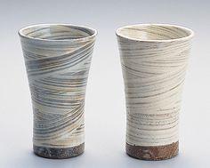 modern yet traditional beautiful hagi yaki ware beer cups pair set.