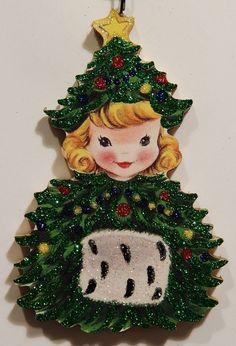 CHRISTMAS TREE GIRL w/ FUR MUFF ~ Glittered CHRISTMAS ORNAMENT ~ Vtg Card Img