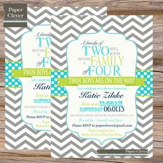 Twins Baby shower invitation - typography, aqua, lime- digital file, printable #155 on Etsy, $13.00