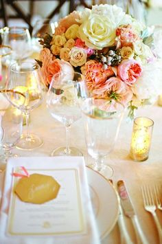 white, peach, pink flowers + gold and white china // wedding table inspiration