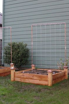 Vegetable garden with a gorgeous copper trellise for your climbers.