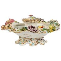 Mid-19th Century Porcelain Flower Encrusted Inkwell
