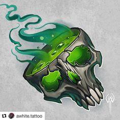 @awhite.tattoo ・・・ #skull #skulltattoo #cauldron #halloween #poison #magic #tattoodesign #spooky #tattoo #art #artist #share… Skull Tattoo Design, Skull Tattoos, Tattoo Designs, Art Tattoos, Graffiti Drawing, Graffiti Art, Tattoo Sketches, Tattoo Drawings, Desenho New School