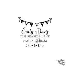 Paper & Party Supplies  Return Address  stamp  gift  stamp envelopes  address stamp  diy wedding  invitation housewarming gift  bunting  stripes  heart  flags  pennant Personalized Custom Return Address Rubber by brittanylaurendesign