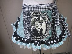Goth Womens Aprons - Tula pink Fabric - Night Shade - Coven Aprons - Vapor Apron - Goth Aprons  - Annies Attic Aprons - PWTP 016 Fabric
