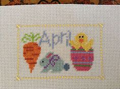 completed cross stitch Lizzie Kate Easter April chick bunny