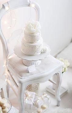 White cake on a white chair ❦