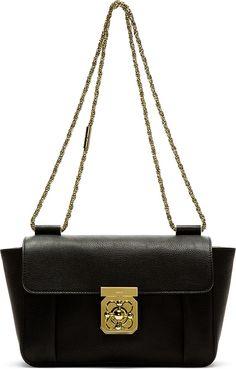 Chloé: Black Goatskin Elsie Medium Shoulder Bag