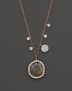 """Meira T 14K Rose Gold Labradorite with 14K White Gold Side Bezels and Disc Necklace, 16"""""""