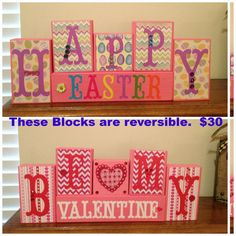 Not crazy about the background design , but like the idea! 2x4 Crafts, Wood Block Crafts, Wooden Crafts, Crafts To Make, Wood Blocks, Letter Blocks, Pallet Crafts, Valentine Decorations, Valentine Day Crafts