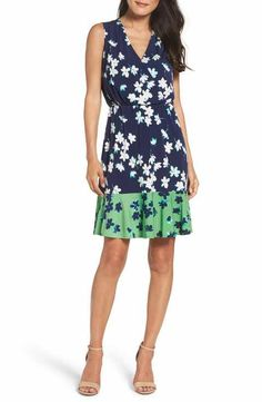 Eliza J Print Surplice Dress (Regular & Petite)