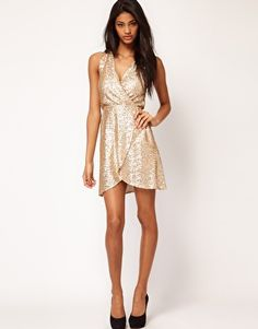 tfnc tfnc dress cross front in sequin at asos gold sequin dress sequin party