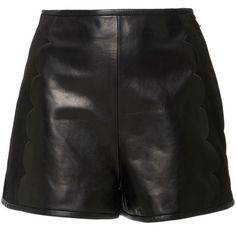 Red Valentino Scallop Leather Shorts ($1,050) ❤ liked on Polyvore featuring shorts, bottoms, black, scallop hem shorts, high rise shorts, scalloped edge shorts, high-waisted shorts and leather shorts