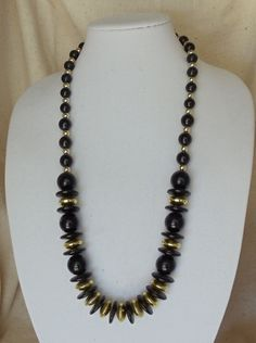 "Vintage 29"" Statement Necklace,Chunky Black Wood Beads ,Acrylic Gold Beads,Screw on Clasp,#VJ2017N by CKDesignsForYou on Etsy"