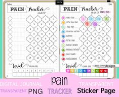 Pain Tracker Digital Journal Sticker Page Blank Transparent PNG for all Digital Planners and Journals GoodNotes Procreate – Finance tips, saving money, budgeting planner Bullet Journal Ideas Pages, Bullet Journal Inspiration, Bullet Journals, Headache Tracker, Planner Apps, Happy Planner, Discbound Planner, Medical Journals, Journal Template